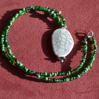 Crackle Pendant with Green Beads