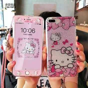 d526a9e10 10pcs/lot Bling Hello Kitty Case+Tempered Glass Screen Protector