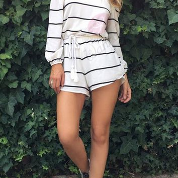 Strapless Striped 3/4 Sleeve Romper 11878