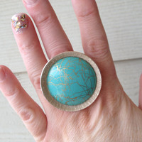 Turquoise and gold color circle ring created from up-cycled vintage clip on earring