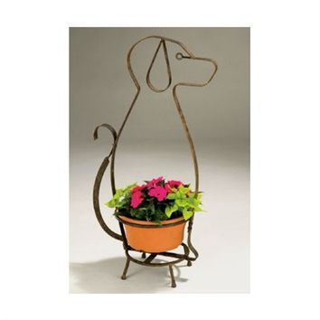 SheilaShrubs.com: Whimsical Dog Planter Holder AN105 by Deer Park Ironworks: Planters
