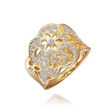 Gold Plated Jewels Covering Tiara Hollow Ring
