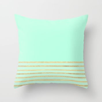 Mint and Gold stripes Throw Pillow by Xiari | Society6