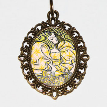 Salad Goddess Necklace, Art Nouveau, Whimsical Jewelry, Jan Toorop, Bronze Oval Pendant