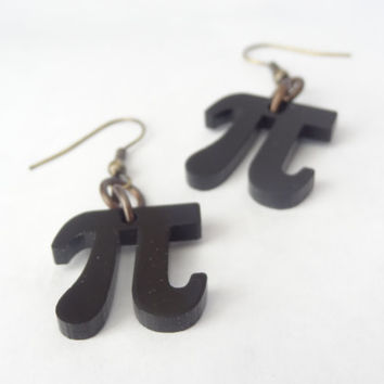 Pi earrings geekery science math black brass jewelry