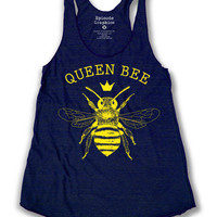 Queen Bee Print  American Apparel Tri Blend Racerback Tank Top