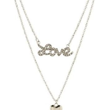Rhinestone Love & Heart Layered Charm Necklace