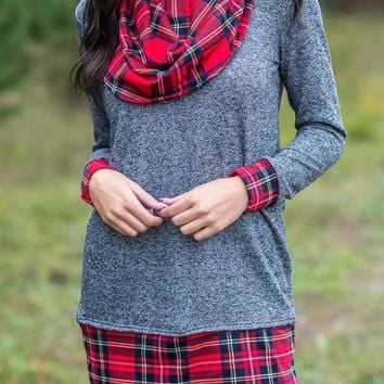Mode Gray Autumn Wind Plaid Cowl Neck Tunic Top