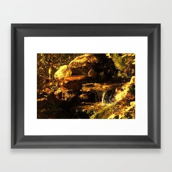 Fall Waterfall Framed Art Print by Theresa Campbell D'August Art