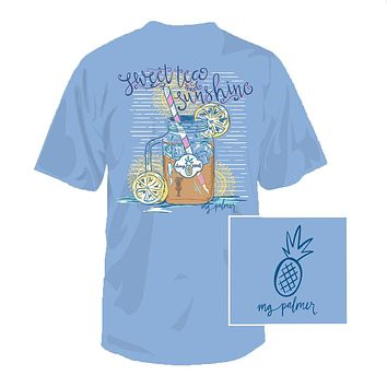 Sweet Tea & Sunshine Tee in Sky Blue by Southern Fried Cotton
