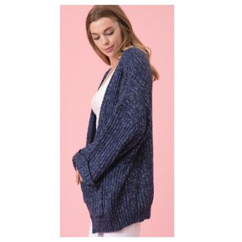 Cozy Me! Oversized Chunky Knit Navy Blue Chenille Sweater Cardigan