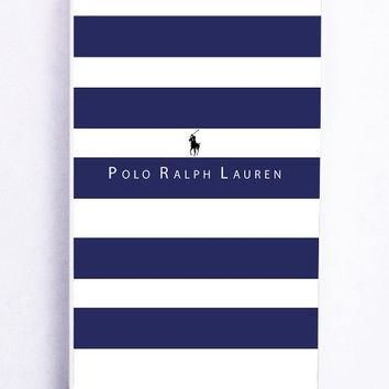 iPhone 5S Case - Hard (PC) Cover with Polo Ralph Lauren Blue White Stripes Plastic Cas