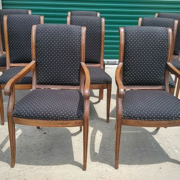 #2582 - Henredon Charles X Collection Designer Set of 8 Dining Chairs - Brown
