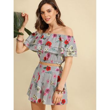 Multicolor Flounce Layered Floral Prints Top With Shorts
