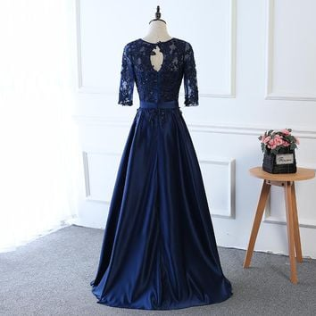 Lace Embroidery Beading Dark Blue Half Sleeve A-Line Zipper Long Evening Dresses Bride Party Prom Dress