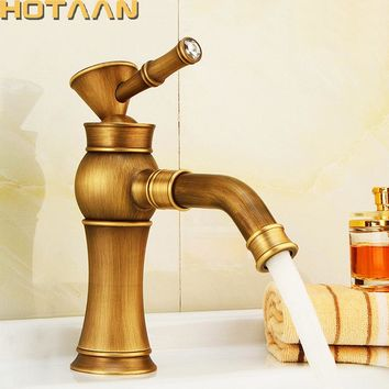 Free shipping Contemporary Concise Bathroom Faucet Antique bronze finish Brass Basin Sink Faucet Single Handle water taps YT5090