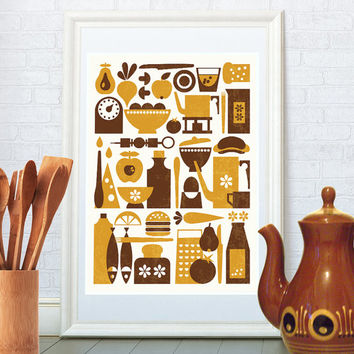 Scandinavian kitchen print, Mid century modern art, Retro poster, Home decor, Wall art