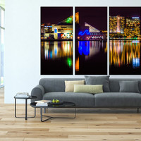 Skyline at night  Baltimore, city skyline canvas prints, large wall decor, extra large wall art, Baltimore night light canvas art print  t33