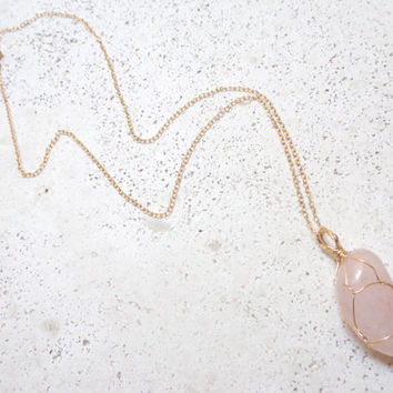 Wire Wrapped Rose Quartz Pendant Necklace 14K Gold Filled Healing Crystal Boho Style Layering Necklace