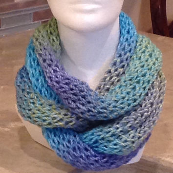 Blue And Green Infinity Circle Knitted Winter Scarf