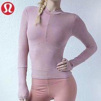 Lululemon New fashion solid color women sports leisure breathable long sleeve top sweater Pink
