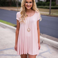 Tea Party T-Shirt Dress- Light Pink