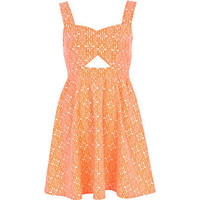 Pink tile print cut out skater dress