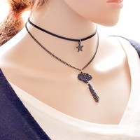 New Arrival forever21 choker Stylish Gift Shiny Jewelry Ladies Vintage Layered Pendant Innovative Korean Tasseled Necklace [7786547271]