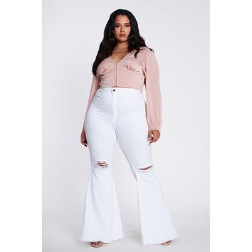 Curvy White Knee Hole Bell Bottoms