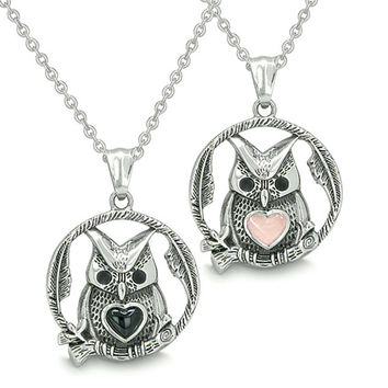 Owl and Cute Heart Love Couple Yin Yang Simulated Onyx Light Pink Cats Eye Pendant Necklaces