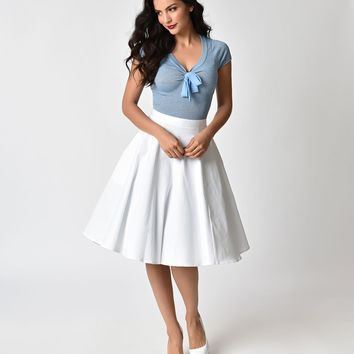 1950s Style White Cotton Swing Skirt