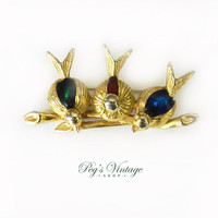 Vintage Birds On A Branch Brooch, Enamel Birds Brooch Pin