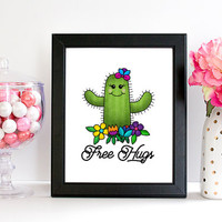Cute Cactus Free Hugs Printable Art, Cheeky and Humorous Printable, Children's Art, Flowers and Cactus Print, Instant Download