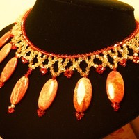 Golden Shadows of Burnt Amber Necklace - SALE - Was $139.00 now $74.00