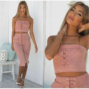 Pure Color Straps Crop Top with Skirt Two Pieces Set