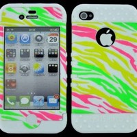 BUMPER CASE FOR APPLE IPHONE 4G 4 G SOFT WHITE SKIN HARD GLOW COLORFUL ZEBRA COVER