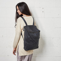 Cloudy Black Leather Backpack, Laptop Bag, Messenger Bag, School Bag, Black Leather Bag, Unisex
