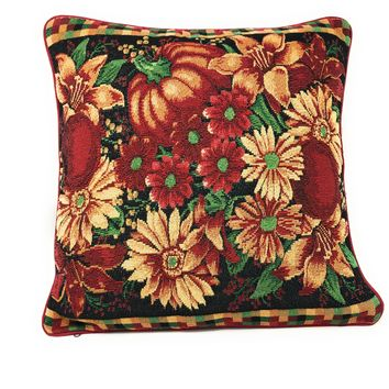"DaDa Bedding Fall Harvest Pumpkin Floral Throw Pillow Cover Tapestry Cases 16"" x 16"" (11774)"