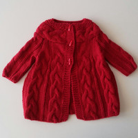 Ready to ship,18-24 months, cable knit, red coat