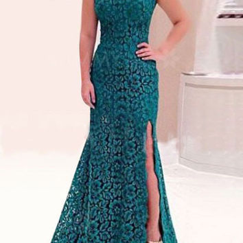 Blue Lace Crochet Openwork Irregular Side Split Maxi Evening Dress Open Back