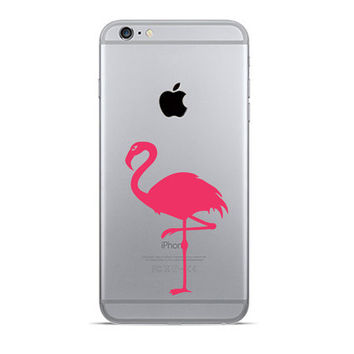 Flamingo iPhone 6 Decals - Velvet Fabric iPhone 6 Plus Stickers - Pink Flamingos Galaxy s5 - Black Fabric Stickers