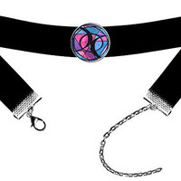 Bisexual Love Black Velvet Choker Antique Silver