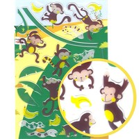 Naughty Monkeys Cartoon Illustrated Animal Jelly Puffy Stickers for Scrapbooking