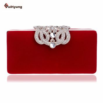 New Women's Clutch Fashion Crown Diamond Evening Bag Velvet Wedding Party Bridal Handbag Purse Chain Shoulder Messenger Bag