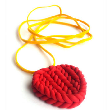 Red Heart Necklace, Polymer Clay Jewelry, Knitted Heart Jewelry, Stocking Stuffer, December Gifts, Christmas Sale, Gift For Wife, Gift Idea