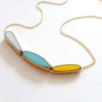 Sunny Side Necklace - 22k gold yellow, blue, white, 14k delicate gold chain -  elegant jewelry by LilahV