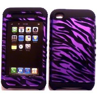 Purple Zebra on Black Silicone Skin for Apple ipod Touch iTouch 4G 4 Hybrid 2 in 1 Rubber Cover Hard Case