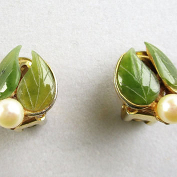 Vintage Jade Pearl Earrings Clip Swoboda