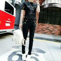 Louis Vuitton Women Casual Fashion Sequin Letter Embroidery Short Sleeve Trousers Set Two-Piece Sportswear