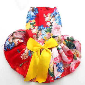 Girl Dog Pet Floral&Bow Dress Tutu Cat Puppy Shirt Skirt Dresses Summer Clothes 4 Colours